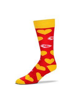 Kansas City Chiefs Team Logo Heart Womens Crew Socks