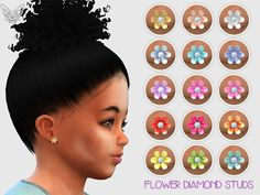 Flower diamond toddler earrings by giulietta sims Sims 4 Toddler Clothes, Sims 4 Cc Kids Clothing, Sims 4 Cc Skin, Sims Cc, Sims 4 Mods, Sims 4 Children, Sims 4 Cc Shoes, Sims 4 Cc Makeup, Play Sims
