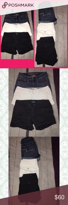 American Eagle Shorts Blue jean. White. Black. All a couple months old. No stains or flaws on any. Just no longer fit me. Paid $40 a piece. American Eagle Outfitters Shorts