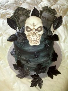 Skull/graveyard Cake Skull/graveyard Cake Lat minute cake I whipped up for a same day event. Pumpkin Cake with Chocolate cake - Rum Buttercream filling. Bolo Halloween, Halloween Birthday Cakes, Halloween Wedding Cakes, My Birthday Cake, Halloween Treats, Halloween 2019, Goth Cakes, Graveyard Cake, Scary Cakes