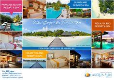 Festive Offer for Villa Hotels Maldives FROM 29 DECEMBER 2016 - 09 JANUARY 2017  PARADISE ISLAND RESORT & SPA SUN ISLAND RESORT & SPA HOLIDAY ISLAND RESORT & SPA ROYAL ISLAND RESORT & SPA For B2B rates contact us at contact@akquasun.com Call us at 022 6134 1515 Terms and Conditions Applied #travel #holiday #offer #maldives #spa #beach