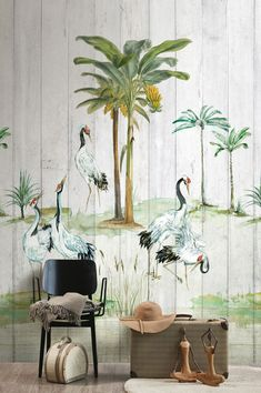 This pretty scene with water-birds, reeds and palm trees could be set on an island in the South Sea. The maritime-tropical flair of this wallpaper mural in three parts guarantees good vibes, relaxation, and daydreaming. Wallpaper Samples, New Wallpaper, Photo Wallpaper, Pattern Wallpaper, Shabby Chic Tapete, Style Tropical, Shabby Chic Wallpaper, Funky Home Decor, Shades Of Green