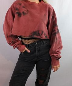 Custom Bleached Champion Cropped Pullover Sweatshirt. Distressed. Edgy. Grunge. Grungy 90s style. 1990s inspired. Streetwear. Croptop. Ripped jeans and fishnets 2017 trend. Crop Top. Street style. Festival fashion. Hipster fashion outfit. Shop on depop.