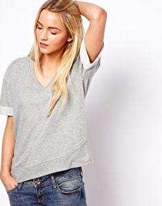 ASOS Sweatshirt with Ribbed Curved Hem