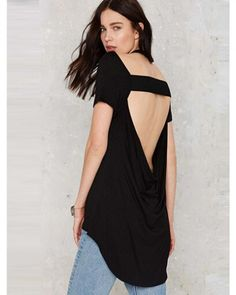 47fa01fbfd60 Sexy black backless t shirt for women plain fishtail t shirts Backless Top,  Nasty Gal