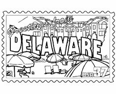 USA-Printables: Delaware State Stamp - US States Coloring Pages