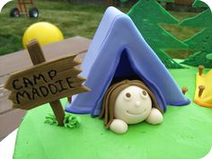 fondant tent for a camp out cake