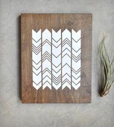 Chevron Screen Print on Wood