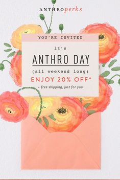 GIF email — Anthropologie: Anthro Day bids farewell soon. Newsletter Layout, Email Layout, Newsletter Design, E-mail Design, Layout Design, Birthday Email, Mail Chimp Templates, Sale Emails, Email Design Inspiration