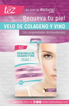 El extracto natural de uvas se combina con polifenoles y otros poderosos agentes antioxidantes, en el velo de colágeno y vino, que previene el envejecimiento de las células, retardan la aparición de arrugas y lineas de expresión, humectan y tonifican la piel ¡Piel joven y sana por más tiempo! #TezTips Consíguelo aquí: http://www.tezboutique.com/velos-f…/velo-de-colageno-y-vino/ http://tez.com.co/portfolio/velo-de-colageno-y-vino/