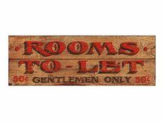 Customizable Gentlemen Rooms Vintage Style Wooden Sign