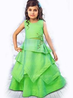 Let your daughter be the centre of attention at any event by wearing this layered Light Green Gown. Made of Silk fabric. It is enhanced with embroidery work on waist side which makes it stand out. Kids Dress Wear, Kids Gown, Summer Dress Outfits, Gowns For Girls, Dresses Kids Girl, Kids Outfits Girls, Kids Girls, Kids Indian Wear, Kids Ethnic Wear