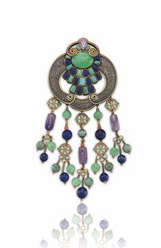 ©️️ Christies Sale 14760 Lot 147 A Multi-Gem, Enamel And Gold Brooch, By Louis Comfort Tiffany Art Nouveau Jewelry, Jewelry Art, Antique Jewelry, Vintage Jewelry, Fashion Jewelry, Jewellery, Peridot, Amethyst, Gold Brooches