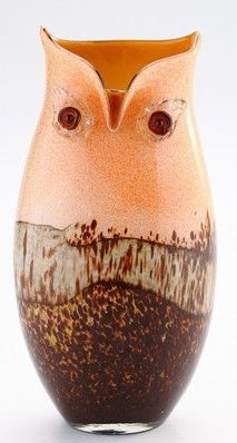 Owl Murano Art Style Glass Vase