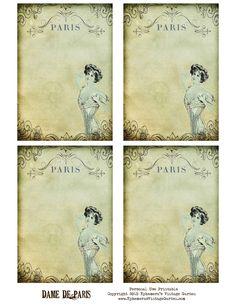 Ephemera's Vintage Garden: Free Printable - Paris Dame Cards