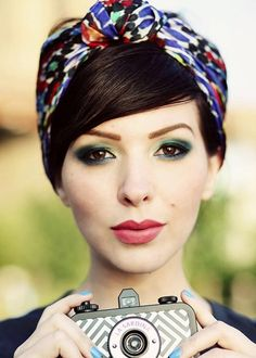 Cute Hairstyles: 10 Ideas You Can Copy in Under 10 Minutes - side swept bangs with a headscarf