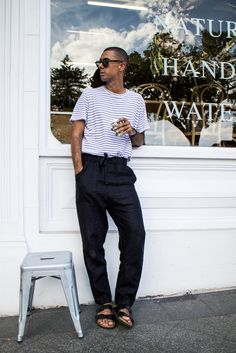Mens Fashion Style & Outfit inspo by Blogger MR TURNER. Assembly Label linen pants and striped tee with Birkenstock shoes.