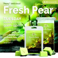 Spend the day with Fresh Pear candles or tarts and earn POINTS towards new jewelry! Tuesday Happy Hour, Good Morning Tuesday, Soy Candles, Scented Candles, Jewelry Candles, Fresh Green, Natural Essential Oils, Burning Candle, Fruit