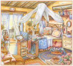 The world of comfort and goodness, created by artist Kim Jacobs. Part Discussion on LiveInternet - Russian Service Online Diaries Storybook Cottage, Cottage Art, Cottage Style, Cute Illustration, Watercolor Illustration, Watercolour, Country Art, Illustrations, Beautiful Paintings