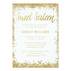131 best glitter birthday party invitations images on pinterest sweet 16 gold white faux glitter birthday invitation filmwisefo
