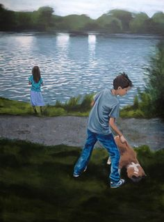 "Saatchi Art Artist Brigitte Yoshiko Pruchnow; Painting, ""Children at Lake"" #art"
