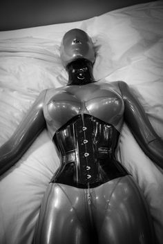 Grey latex catsuit and hood