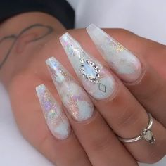 Awesome pretty nail art designs for any occasion 15 - empyreandivine Square Acrylic Nails, Pink Nail Art, Summer Acrylic Nails, Purple Nails, 3d Nails Art, Summer Nails, Ongles Bling Bling, Bling Nails, Glitter Nails