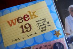 Project Life Baby Album - hung journalling tips and prompts.  Summary of the week journalled onto the title card.