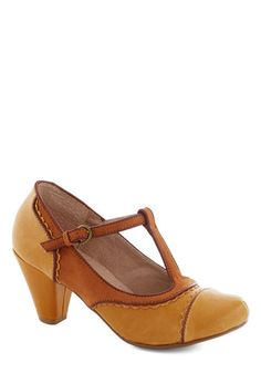 Dance on Air Heel in Mustard by Chelsea Crew - Yellow, Solid, Cutout, Scallops, Vintage Inspired, 20s, 30s, Mid, Faux Leather, Party, Work, ...