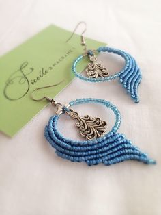 A personal favorite from my Etsy shop https://www.etsy.com/listing/508561594/macrame-earrings-diy-blue-earrings-round