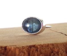 Natural Sapphire Oval Cabochon Cut Silver Tie Tac with chain/ Men's accesory/ Men's Gift/ September Birth Stone