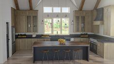 Farmhouse Kitchen Inspiration, Modern Farmhouse Kitchens, Kitchen Modern, Black Kitchens, Rustic Kitchen, Black Kitchen Island, Dark Kitchen Cabinets, Floor To Ceiling Cabinets, Kitchen Ceilings