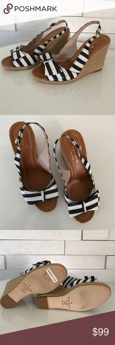 "Kate Spade ♠️ black and white striped edges. NEVER BEEN WORN! This cute Kate Spade black and white striped Boardwalk wedge features a rope covered heels and a cute toe-topping bow. It has an adjustable ankle strap in a 3.5"" heels. ♠️ kate spade Shoes Wedges"