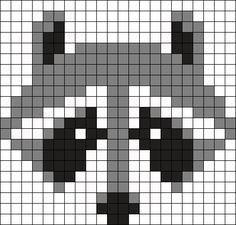 Mapache by Urcujiro on Kandi Patterns Kandi Patterns, Perler Patterns, Beading Patterns, Cross Stitching, Cross Stitch Embroidery, Cross Stitch Patterns, Pixel Crochet, Crochet Chart, Knitting Charts