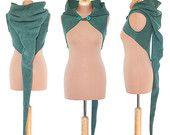 Plain Fleece 'Korrigan' Shrug- Ultimate pixie hood/Sleeveless
