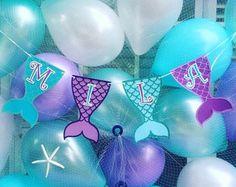 Princess Birthday Party Decorations, Mermaid Theme Birthday, Little Mermaid Birthday, Ariel The Little Mermaid, Party Themes, Gold First Birthday, First Birthday Banners, Little Mermaid Centerpieces, Mermaid Invitations