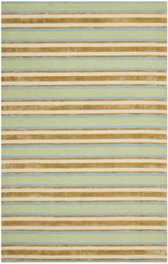This hand tufted Safavieh rug was made in India from Wool. This Isaac Mizrahi designed area rug features a striped style with orange, green, teal and beige colors.RugStudio # 108012Designer: Isaac MizrahiBrand: SafaviehCollection: Isaac...