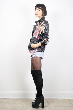 Vintage Bomber Jacket Black Floral Print by ShopTwitchVintage