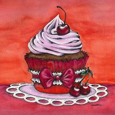 Cherry Cupcake - Counted cross stitch pattern in PDF format by Maxispatterns on Etsy