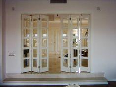 Living Room Partition Design, Room Partition Designs, Dining Room Design, Accordion Folding Doors, Internal Folding Doors, Steel Doors And Windows, House Construction Plan, Diy Room Divider, Indian Home Interior