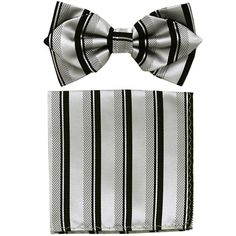 Silver/Black Striped Bow Tie with Pocket Square (Pointed Tip)