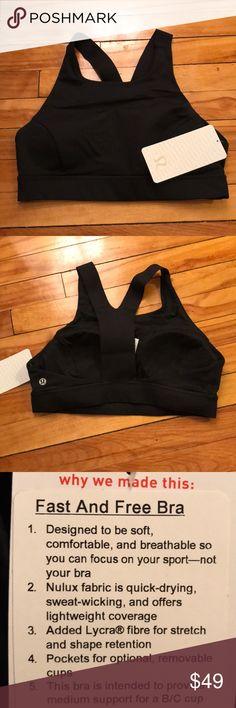 NWT Lululemon Fast and Free Bra Size 10 Brand new with tag Lululemon Fast and Free Bra.  Color code is BLK (Black) Size 10 lululemon athletica Tops
