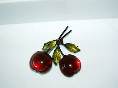 Vintage Glass Cherries Brooch