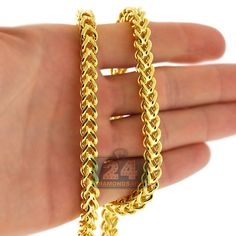 Buy authentic Italian Heavy Yellow Gold Hollow Franco Link Chain Necklace for Men, 7 mm wide, length of 24 26 28 30 32 inches. Gold Necklace For Men, Mens Gold Jewelry, Black Hills Gold Jewelry, Mens Chain Necklace, Gold Jewelry Simple, Mens Silver Rings, Silver Jewelry, Fine Jewelry, Jewellery