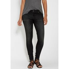 maurices Denimflex™ Super Skinny Jeans In Black With Fading, Women's,... ($26) ❤ liked on Polyvore featuring jeans, maurices jeans, faded skinny jeans, maurices, skinny fit jeans and faded jeans