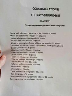 Earn points for good deeds to get out of grounding