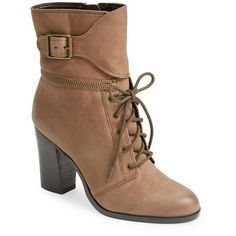 Women's T Tahari 'Farah' Leather Bootie ($110) ❤ liked on Polyvore featuring shoes, boots, ankle booties, ankle boots, heels, brown, brown leather bootie, brown booties, brown leather ankle booties and buckle ankle boots