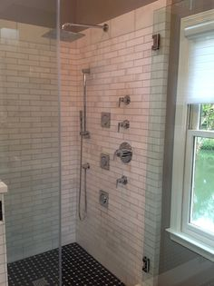 The Shower Has A Beautiful Subway Tile Pattern And Features A Rain Shower  Head, And Body Sprays. | Cheryl Pett Design
