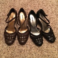Black and Brown PU Leather wedges 6.5 Black and Brown PU Leather wedges 6.5 great condition! By Liz Baker. Liz Baker Shoes Wedges