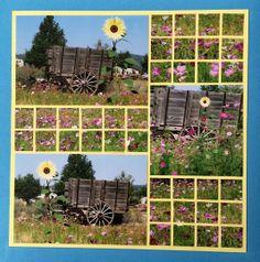 Photo Collage created by Karen, Lea France designer using Grid Stencil. #PhotoCollage #Art #Scrapbook #Crafts #DIY #LeaFrancePhotoCollage
